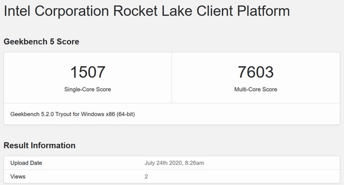 Intel 8c/16t Rocket Lake score appears on Geekbench